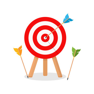 Business concept of failure, archery sport competition. A miss, an unsuccessful attempt to hit a target. Vector illustration.