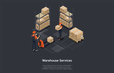 Fototapeta Isometric Vector Illustration Cartoon 3D Style. Dark Background And Elements. Warehouse Services, Product Storage Ideas. Concept Design. People In Uniform Working. Cardboard Boxes, Parcel, Forklift. obraz