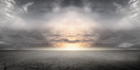 Epic Floor Background Scene and Dramatic Sky with Sunset Storm Cloud Horizon