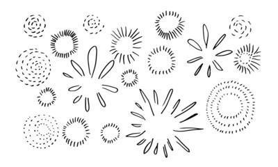 set of doodle starburst isolated on white background hand drawn from sunburst. design elements. vector illustration.