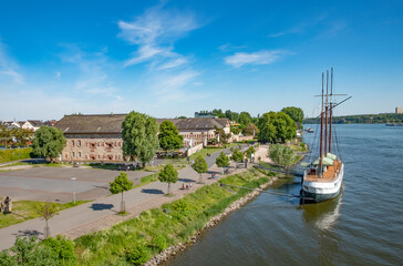 view to the old Bastion with historic ship in Mainz Kastel
