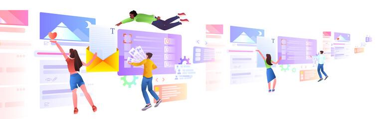 Fototapeta mix race developers team creating website ui web application development program software optimization obraz