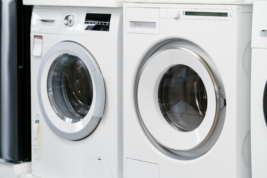 Close up of new dryer machine in household appliances store