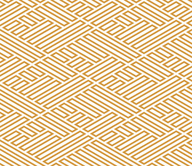 Abstract geometric pattern with stripes, lines. Seamless vector background. White and gold ornament. Simple lattice graphic design - fototapety na wymiar