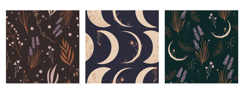 Set of three celestial crescent moon and magic herbs vector patterns