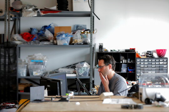 Co-founder and Co-CEO Gordon LaPlante works at his desk at gCreate, a 3D printer manufacturer, in New York City
