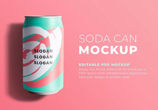 Editable Soda Can Mockup
