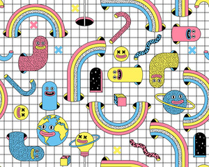 Fototapeta Surreal vector seamless pattern with emoji, rainbow, arch, space in trendy psychedelic weird cartoon style. obraz