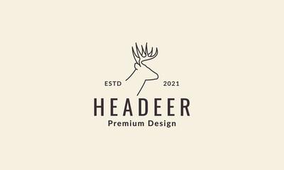 lines hipster head deer logo symbol vector icon illustration graphic design