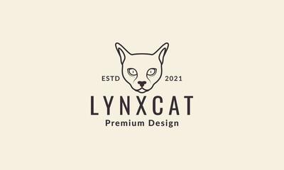 Fototapeta lines head animal sphynx cat logo vector symbol icon design graphic illustration obraz