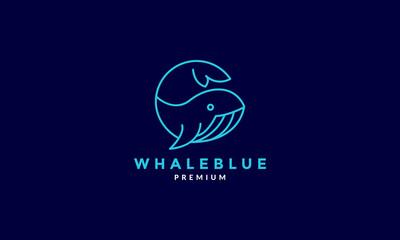 blue line orca whale logo symbol vector design illustration - fototapety na wymiar
