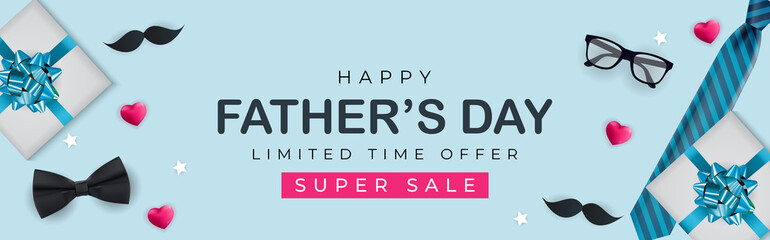 Obraz Father's Day Sale Background. Poster, flyer, greeting card, header for website. Vector Illustration - fototapety do salonu
