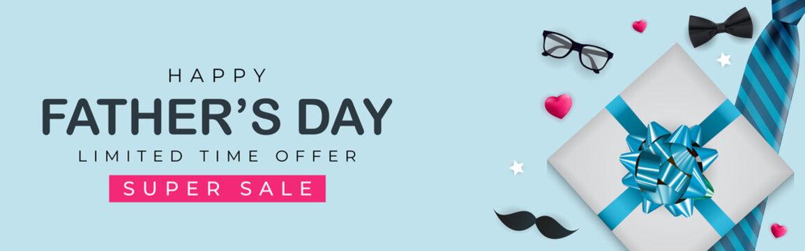 Father's Day Sale Background. Poster, flyer, greeting card, header for website. Vector Illustration