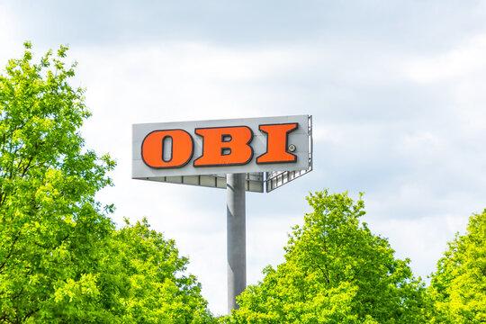 Obi logo construction supermarket. Russia, Saint-Petersburg. 27 may 2021.