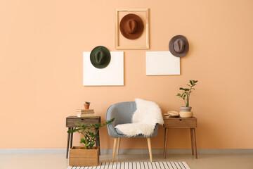 Obraz Interior of stylish room with hats - fototapety do salonu