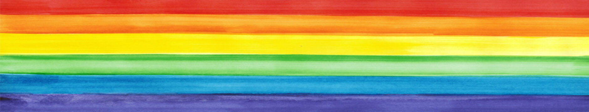 LGBT pride rainbow flag. Symbol of sexual minorities and tolerance. LGBTQ, LGBT + community concept. Watercolor painted background with copy space for design. Wide banner. Website header.