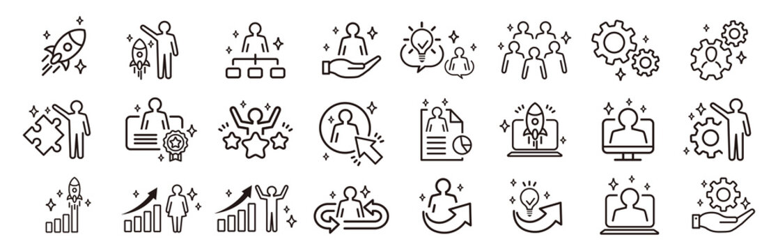 Business Startup Management Teamwork strategy Employee line  icons set