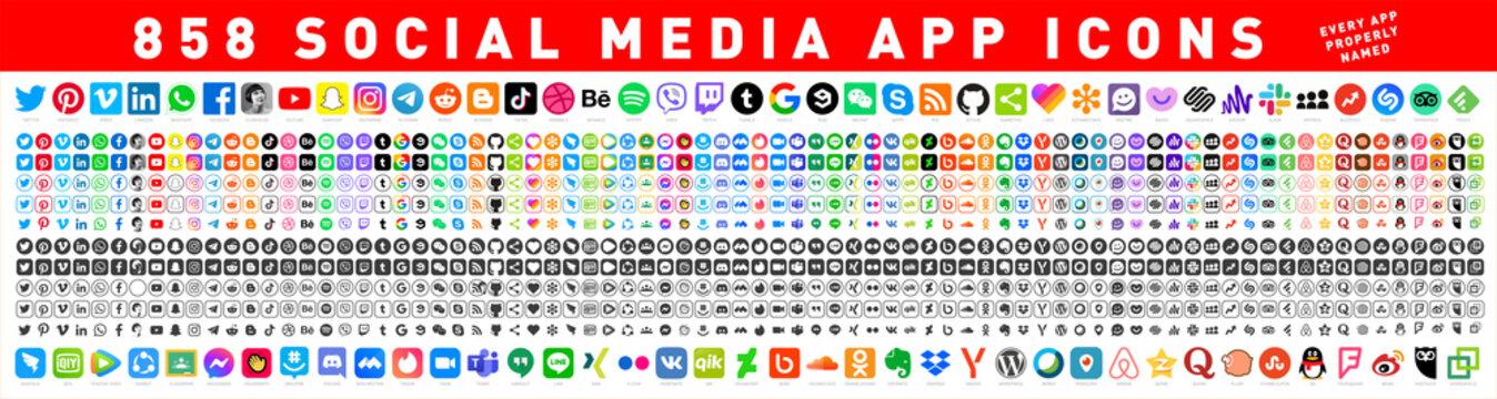 858 Social media icons. Facebook, Instagram, Twitter, Youtube, Pinterest, Behance, Vimeo, Google, Skype, Viber, TikTok, Whatsapp, Linkedin, Telegram, WeChat, Dribble, Reddit, Blogger. Editorial vector
