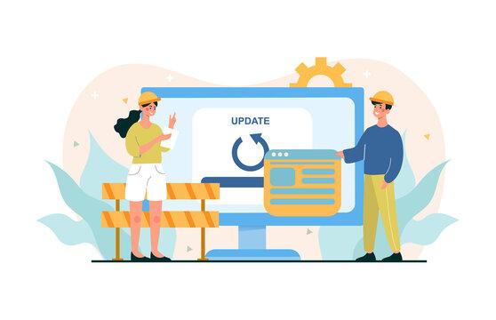 Web page under construction, IT teawork.