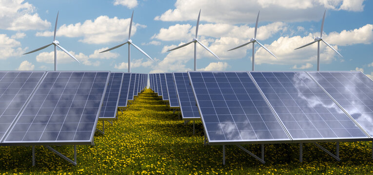 Photovoltaic panels and windmills in a meadow of blooming dandelions