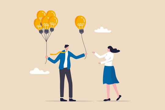 Business idea or solution offering, mentor give an advice, solution to solve business problem or help sharing creativity idea concept, smart businessman giving lightbulb idea to young employee.