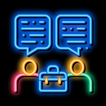 Deal Conversation of Two Businessmen neon light sign vector. Glowing bright icon Deal Conversation of Two Businessmen sign. transparent symbol illustration