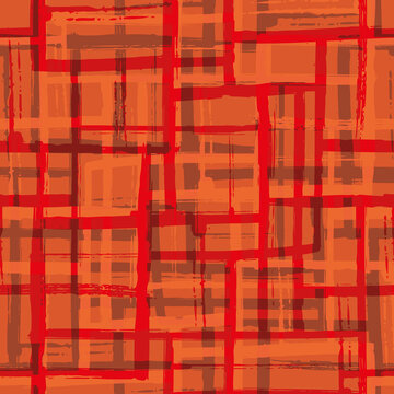 Abstract painted mid-century modern vector seamless pattern background. Monochrome red grid backdrop with blended layers of painterly brush stroke stripes. Modern weave effect texture repeat.