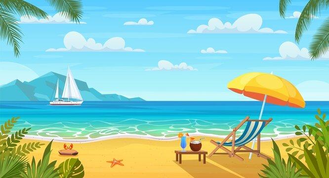 Summer tropical beach with sun loungers