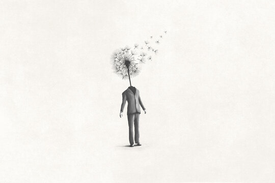 illustration of dandelion man, surreal abstract concept
