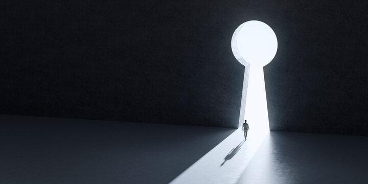 巨大な鍵穴の形をした出口に向かって歩くビジネスマンの3Dレンダリンググラフィックス / 問題解決・成功への扉・鍵穴とキーパーソンのコンセプトイメージ
