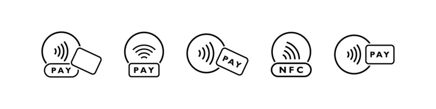 Tap to pay with credit card. Set of NFC wireless payment linear icons. Smart NFC technology for fast payment. Vector illustration