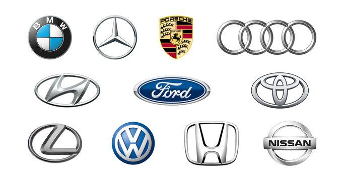 Big set of car brand logo. Top car brands. Black automobile emblems sign. Vector illustration.