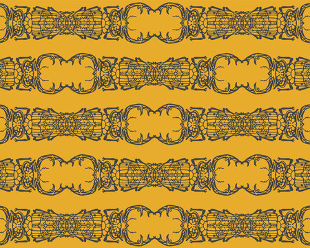 Seamless pattern with detailed illustrations of stag beetle insects on a dark yellow background in horizontal repeat.