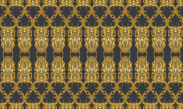 Seamless pattern with decorative illustrations of stag beetle insects on a black background in vertical repeat.