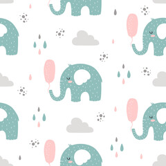 Seamless pattern with blue elephants with balloon in scandinavian style