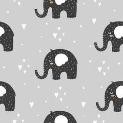 Seamless pattern with elephants in the Scandinavian style in black