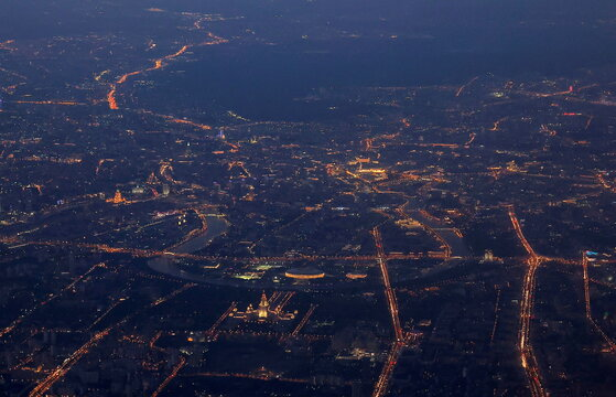 A general view of the centre of Moscow in the dusk, shot from an airplane flying over the city