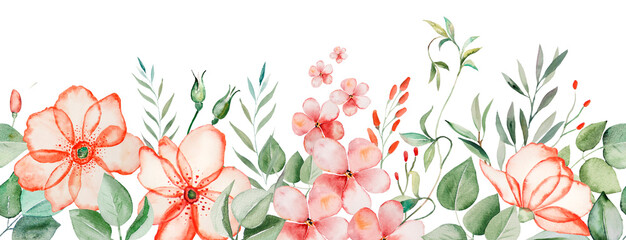 Watercolor pink flowers and green leaves seamless border illustration