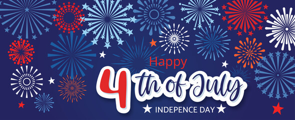Fototapeta 4th July Happy Independence Day holiday banner template with festive fireworks.-vector illustration obraz
