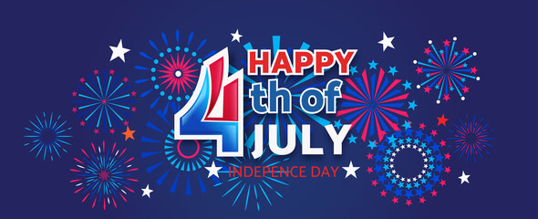 Fototapeta 4th July Happy Independence Day holiday banner template with festive fireworks - Vector illustration obraz