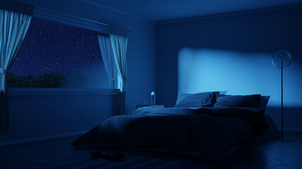 Fototapeta 3d rendering of bedroom with cozy low bed at night with starry sky obraz