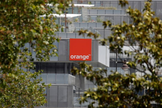 The logo of French telecom operator Orange at the headquarters in Issy-les-Moulineaux