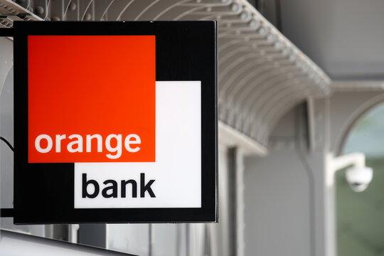 The logo of Orange Bank in Issy-les-Moulineaux near Paris.
