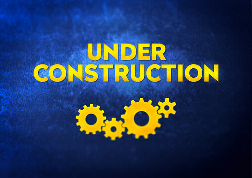 Under construction sign. Modern typography with gear wheels.