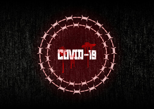 covid-19 passport concept with barbed wire and blood on grunge background. conspiracy theory concept.