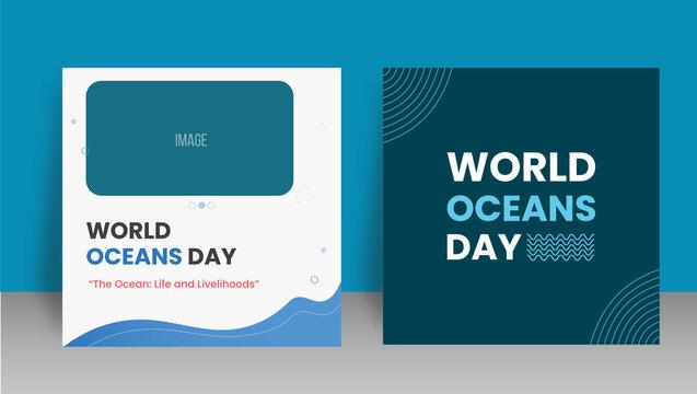 World oceans day  social media post design template