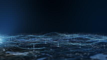Digital dark blue landscape particle.3D Rendering.