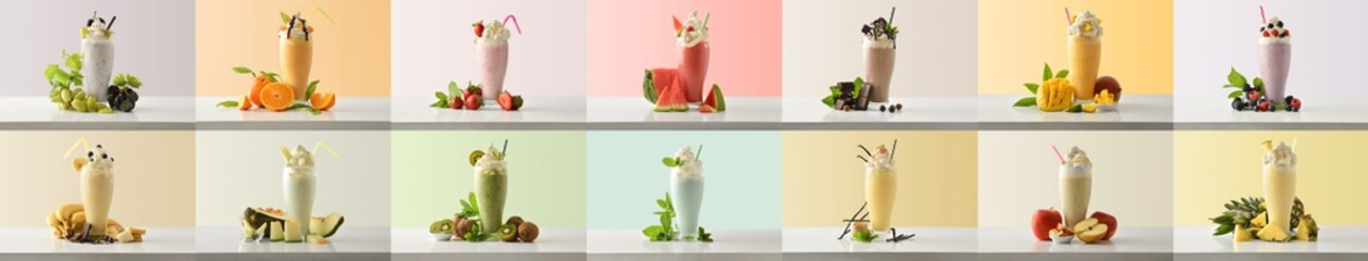 Obraz Set of various flavors milkshakes decorated with fruits colored background - fototapety do salonu