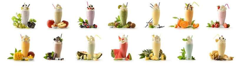 Obraz Set of milkshakes decorated with fruits of various flavors isolated - fototapety do salonu