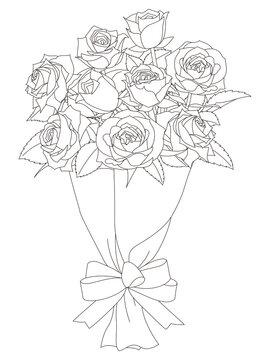 花のぬり絵 薔薇の花束